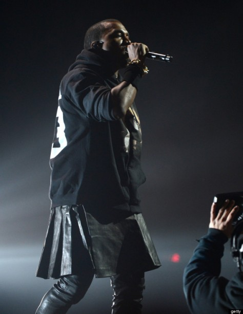 Photo from The Huffington Post  http://www.huffingtonpost.com/2012/12/13/kanye-wests-leather-skirt-photos_n_2293752.html