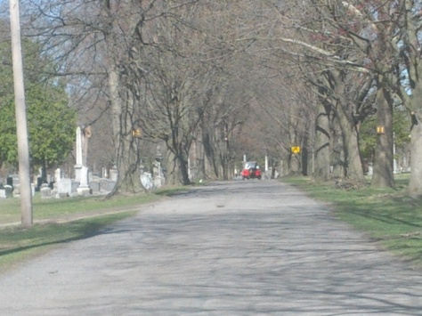 The Vale Cemetery is the locale for an exciting chase scene in the movie