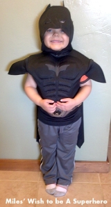 Miles, aka Batkid, reporting for duty