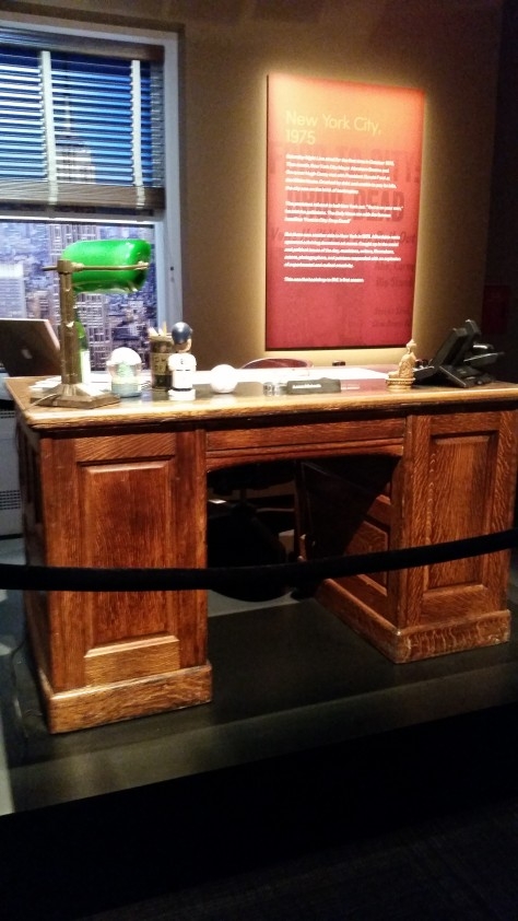 Lorne Michaels' desk - notable because he has the same Paul O'Neill bobblehead that I do.