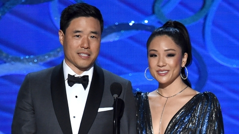 LOS ANGELES, CA - SEPTEMBER 18: Actors Randall Park (L) and Constance Wu speak onstage during the 68th Annual Primetime Emmy Awards at Microsoft Theater on September 18, 2016 in Los Angeles, California. (Photo by Kevin Winter/Getty Images)