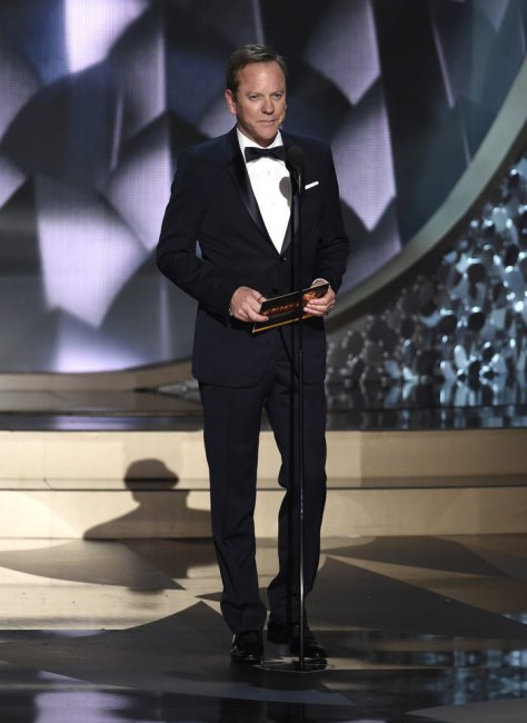Kiefer Sutherland presents an award at the 68th Primetime Emmy Awards on Sunday, Sept. 18, 2016, at the Microsoft Theater in Los Angeles. (Photo by Chris Pizzello/Invision/AP)