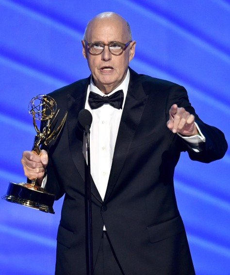 """Jeffrey Tambor accepts the award for outstanding lead actor in a comedy series for """"Transparent"""" at the 68th Primetime Emmy Awards on Sunday, Sept. 18, 2016, at the Microsoft Theater in Los Angeles. (Photo by Vince Bucci/Invision for the Television Academy/AP Images)"""