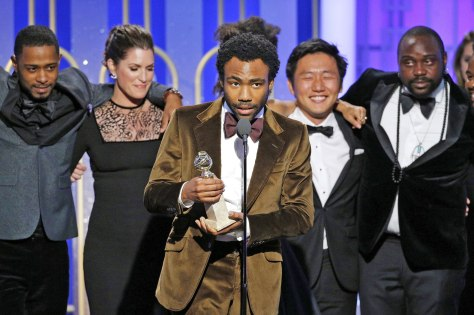 "BEVERLY HILLS, CA - JANUARY 08: In this handout photo provided by NBCUniversal, creator, executive producer and actor Donald Glover accepts the award for Best Television Series - Musical or Comedy for the series ""Atlanta"" during the 74th Annual Golden Globe Awards at The Beverly Hilton Hotel on January 8, 2017 in Beverly Hills, California. (Photo by Paul Drinkwater/NBCUniversal via Getty Images)"