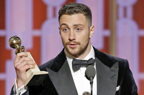 "BEVERLY HILLS, CA - JANUARY 08: In this handout photo provided by NBCUniversal, Aaron Taylor-Johnson accepts the award for Best Supporting Actor In A Motion Picture for his role in ""Nocturnal Animals"" during the 74th Annual Golden Globe Awards at The Beverly Hilton Hotel on January 8, 2017 in Beverly Hills, California. (Photo by Paul Drinkwater/NBCUniversal via Getty Images)"
