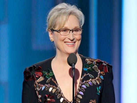 Jan 8, 2017; Beverly Hills, CA, USA; Meryl Streep receives the Cecil B. Demille Award during the 74th Golden Globe Awards at Beverly Hilton. Mandatory Credit: Paul Drinkwater/NBC via USA TODAY NETWORK *** Please Use Credit from Credit Field ***