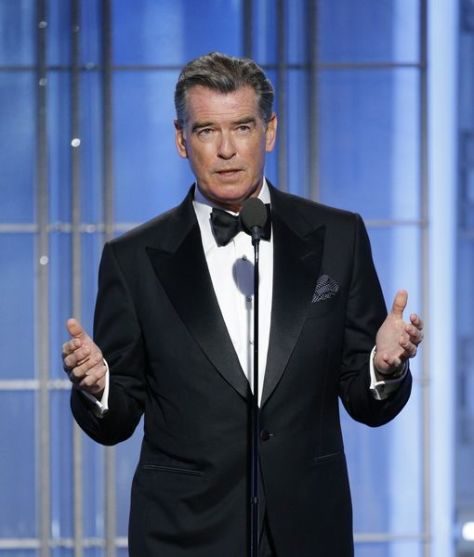 BEVERLY HILLS, CA - JANUARY 08: In this handout photo provided by NBCUniversal, presenter Pierce Brosnan onstage during the 74th Annual Golden Globe Awards at The Beverly Hilton Hotel on January 8, 2017 in Beverly Hills, California. (Photo by Paul Drinkwater/NBCUniversal via Getty Images)